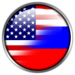 USA and Russia Flag glossy button — Stock Photo