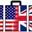 Stock Photo: Suitcase with USand UK Flag