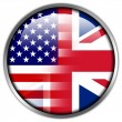 Stock Photo: USand UK Flag glossy button