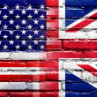 Stock Photo: USand UK Flag painted on brick wall