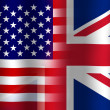 Stock Photo: Waving USand UK Flag