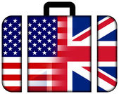 Suitcase with USA and UK Flag — Stock Photo