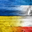 Stock Photo: Autonomous Republic of Crimeand Ukraine Flag painted on old wood plank texture