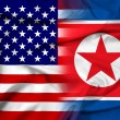 Waving USA and North Korea Flag — Photo