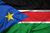 Waving South Sudan Flag — Stock Photo