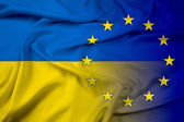 Waving Ukraine and EU Flag — Stock Photo