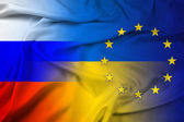 Waving Ukraine, EU and Russia Flag — Stock Photo