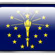 Indiana State Flag rectangle glossy button — Stock Photo