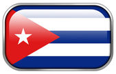 Cuba Flag rectangle glossy button — Stock Photo
