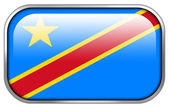 Democratic Republic of the Congo Flag rectangle glossy button — Stock Photo