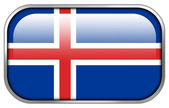 Iceland Flag rectangle glossy button — Stock Photo
