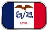 Iowa State Flag rectangle glossy button — Stock Photo
