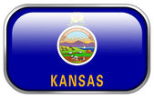 Kansas State Flag rectangle glossy button — Stock Photo