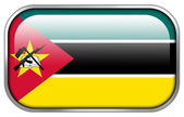 Mozambique Flag rectangle glossy button — Stock Photo
