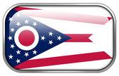 Ohio State Flag rectangle glossy button — Stock Photo