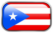 Puerto Rico Flag rectangle glossy button — 图库照片