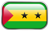 Sao Tome and Principe Flag rectangle glossy button — Stok fotoğraf