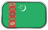 Turkmenistan Flag rectangle glossy button — Stock Photo