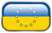 Ukraine and EU Flag rectangle glossy button — Stok fotoğraf