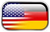 USA and Germany Flag rectangle glossy button — 图库照片