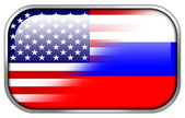 USA and Russia Flag rectangle glossy button — Foto Stock