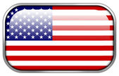USA Flag rectangle glossy button — Stock Photo