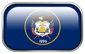 Utah State Flag rectangle glossy button — Stock fotografie