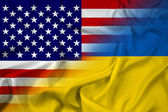 Waving Ukraine and USA Flag — 图库照片