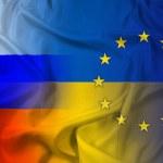 Waving Ukraine, EU and Russia Flag — Stock Photo #44276879