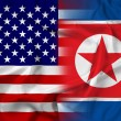 Waving USA and North Korea Flag — Zdjęcie stockowe
