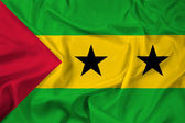Waving Sao Tome and Principe Flag — Foto de Stock
