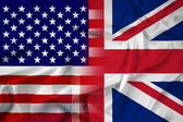 Waving USA and UK Flag — Stock Photo
