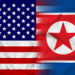 Waving USA and North Korea Flag — 图库照片