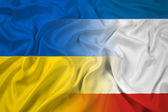 Waving Autonomous Republic of Crimea and Ukraine Flag — Stock Photo