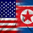Waving USA and North Korea Flag — Stok fotoğraf
