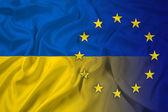 Waving Ukraine and EU Flag — Stock Photo