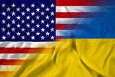 Waving Ukraine and USA Flag — Stock Photo