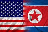 挥舞着美国和朝鲜的国旗 — 图库照片