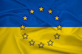 Waving Ukraine and EU Flag — Foto de Stock