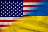 Waving Ukraine and USA Flag — 图库照片
