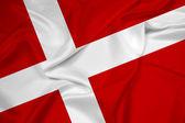 Danimarka bayrağı sallayarak — Stok fotoğraf