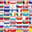 All European Flags - rectangle glossy buttons. Every button is isolated on white background. — Stock Photo #50110629