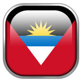 Antigua and Barbuda Flag square glossy button — Stock Photo