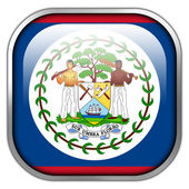 Belize Flag square glossy button — Stock Photo