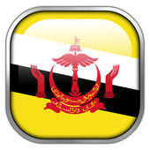 Brunei Flag square glossy button — Stock Photo