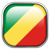 Congo Republic Flag square glossy button — Foto Stock