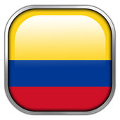 Colombia Flag square glossy button — Stock Photo