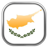Cyprus Flag square glossy button — Stock Photo