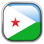 Djibouti Flag square glossy button — Stock Photo