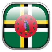 Dominica Flag square glossy button — Stock Photo